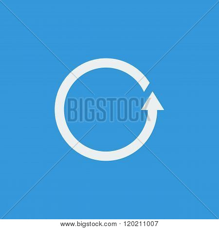 Reload Icon, On Blue Background, White Outline, Large Size Symbol