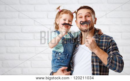 Funny Family Father And Child With A Mustache