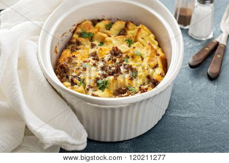 Breakfast strata with cheese and sausage