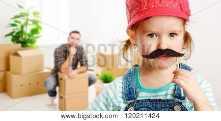 Family Moving Home And Renovation. Funny Girl With A Mustache Foreman And Father
