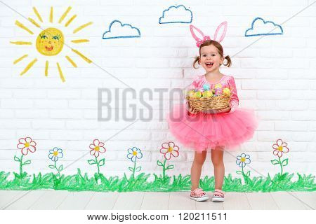 Concept Easter. Happy Girl In Costume Bunny Rabbit With Basket Of Eggs