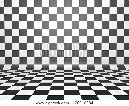 Black And White checkerboard background with copy space.