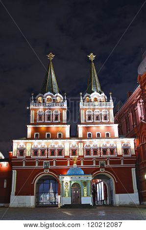 Iberian (resurrection) Gate And Iver Chapel On Red Square In Moscow At Night