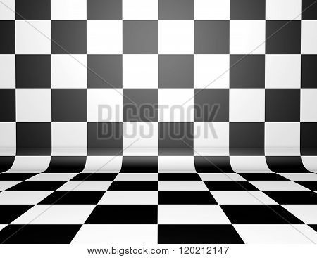 Chess board illustration tiled background with black and white pattern.