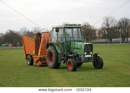 Tractor At Cleaning Work