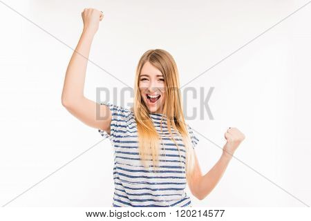 Happy Girl With Raised Fists