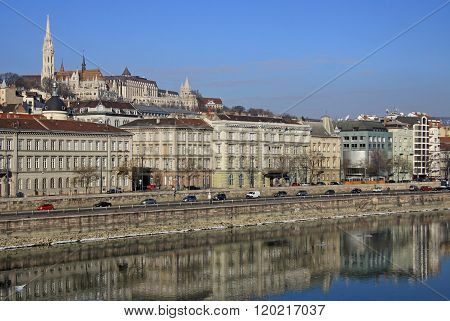 Budapest, Hungary - February 22, 2012: Views Of The Buda Side Of Budapest Sunny Day