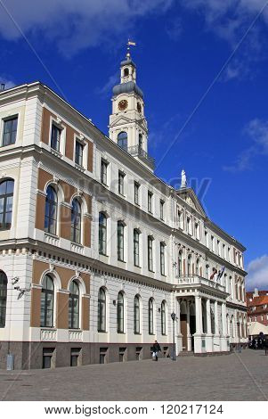 Riga, Latvia - March 19, 2012: Building Of Riga City Council At The Town Hall Square