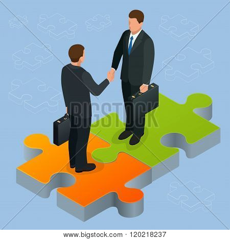 Business and finance concept. Handshake isometric. Partnership flat 3d isometric illustration Two bu