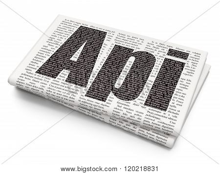 Software concept: Api on Newspaper background