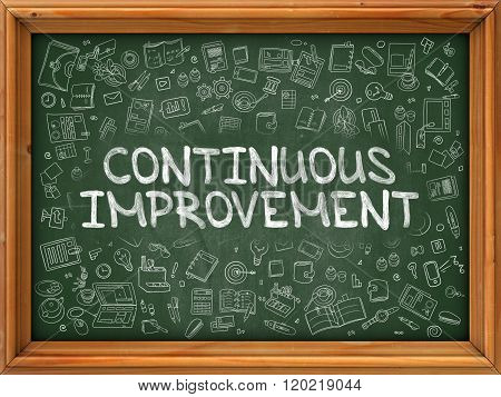 Hand Drawn Continuous Improvement on Green Chalkboard.