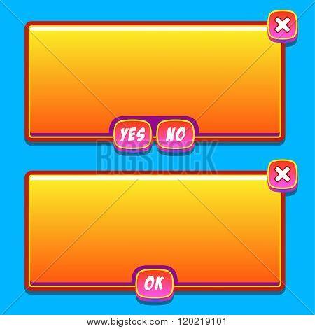 Orange game interface panels ui buttons