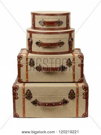 Four Stacked Deco Burlap Suitcases