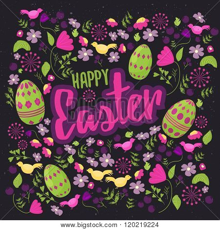 Easter  floral card with colorful eggs on dark background. Can be used for easter greetings, easter