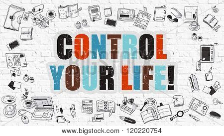 Control Your Life Concept with Doodle Design Icons.