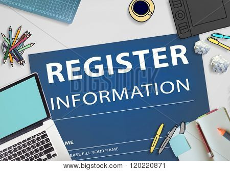 Register Information Apply Signup Concept