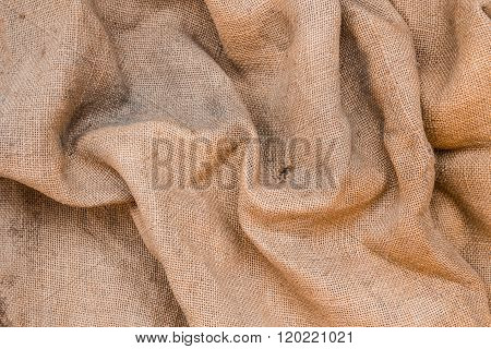 Wrinkled Old Jute Fabric Background