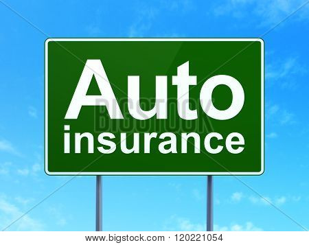 Insurance concept: Auto Insurance on road sign background
