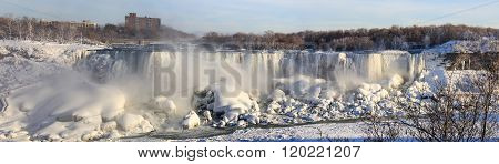 Niagara Falls on the border Ontario river between the USA and Canada Ontario in winter time