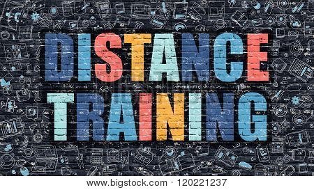 Distance Training Concept. Multicolor on Dark Brickwall.
