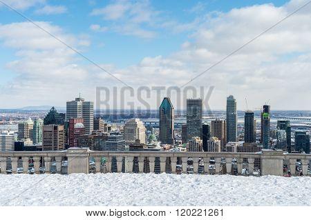 Montreal Skyline In Winter 2016