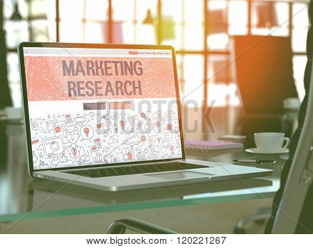 Laptop Screen with Marketing Research Concept.