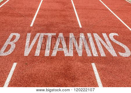 B Vitamins written on running track