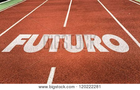 Future (in Portuguese) written on running track