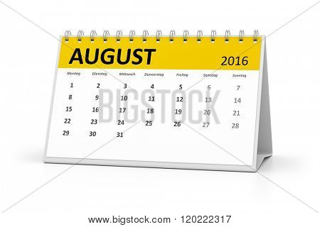 A german language table calendar for your events 2016 august