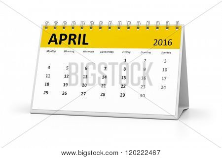 A german language table calendar for your events 2016 april