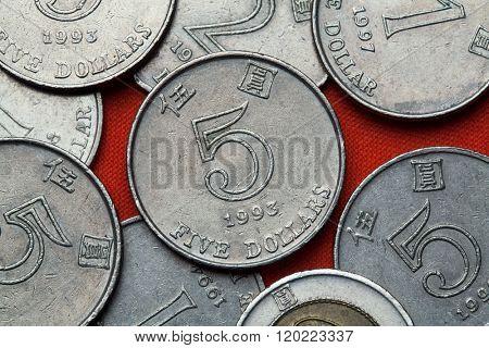 Coins of Hong Kong. Five Hong Kong dollars.