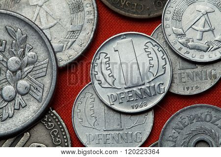 Coins of East Germany. East German one pfennig coin (1968) coined in the German Democratic Republic.