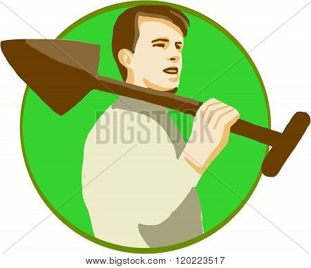 Gardener Shovel On Shoulder Circle Retro