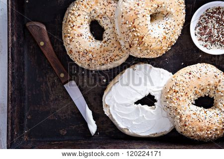 Everything bagels with cream cheese