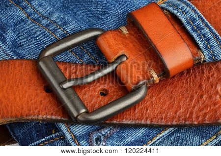 Blue Jeans With Leather Belt