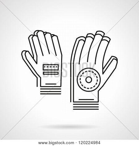 Sport gloves thin line design vector icon