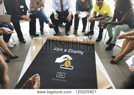 Join Charity Give Money Concept