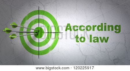 Law concept: target and According To Law on wall background