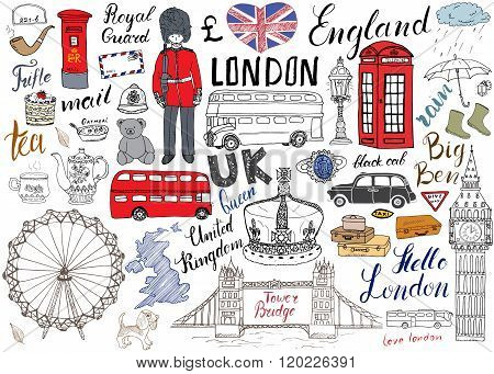 London City Doodles Elements Collection. Hand Drawn Set With, Tower Bridge, Crown, Big Ben, Royal Gu