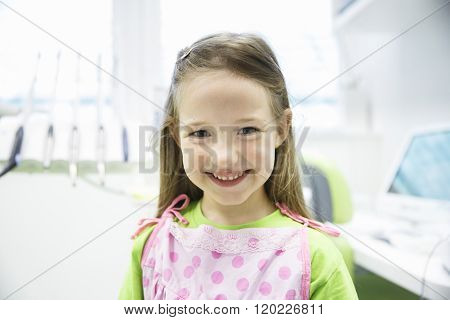 Relaxed Little Girl At Dental Office
