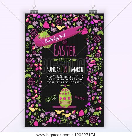Easter floral invitation with colorful eggs on dark background. Can be used for easter greetings, ea