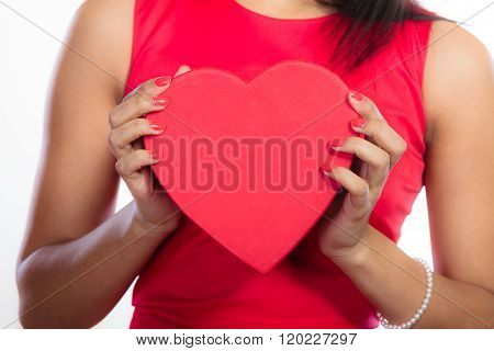 Woman With Red Heart Shaped Gift Box