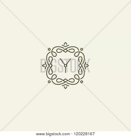 Retro frame. Vintage monogram with letter Y