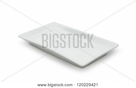 Empty White Ceramic Dish On White Background