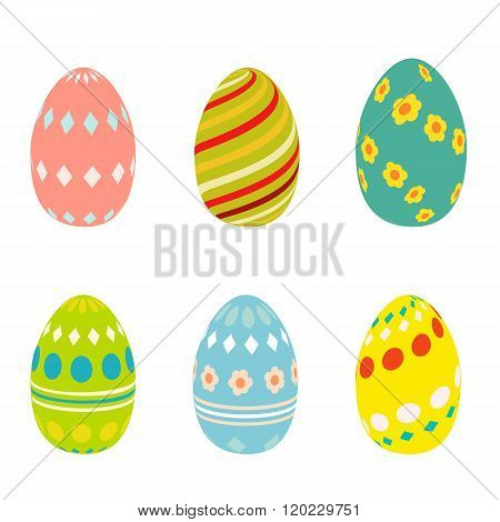 Flat Easter eggs cons. Easter eggs isolated on white background. Easter eggs for greeting cards. Eas