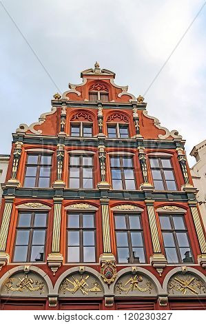 Architectural Facade Detail At One Old Building Placed In Bruges, Belgium 1