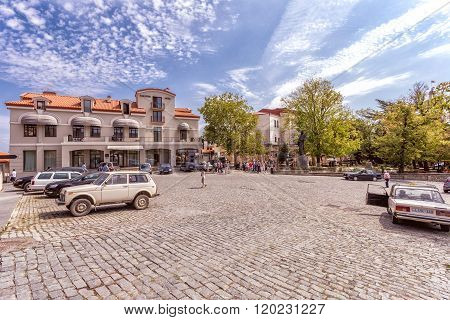 SIGNAGHI GEORGIA - SEPTEMBER 17, 2014: Sighnaghis square at autunm in Kakheti region in Georgia