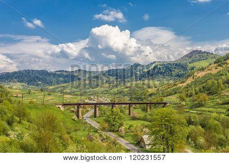 Railway Bridge On Mountain Background