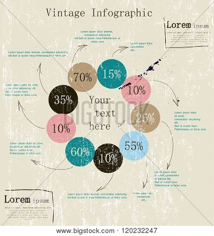 Retro infographic with ink arrows.