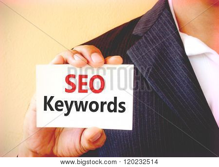 Seo Keywords Word On The White Card